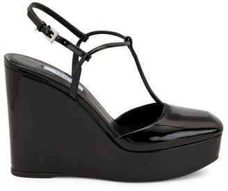 Prada Patent Leather T-Strap Wedge Sandals