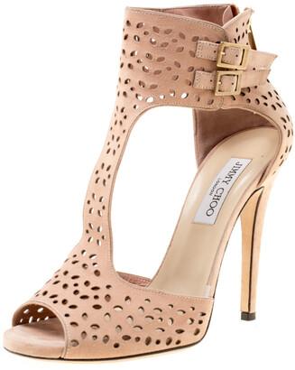 Jimmy Choo Peach Pink Laser Cut Suede Peep Toe Sandals Size 39.5