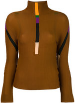 Issey Miyake stripes detail turtleneck jumper - women - Polyester - One Size