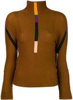 Issey Miyake stripes detail turtleneck jumper