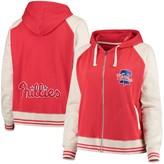 Unbranded Women's Soft as a Grape Red Philadelphia Phillies Curvy Varsity Full-Zip Jacket