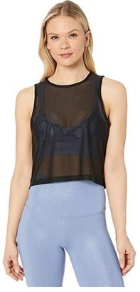 Beyond Yoga Mesh Balanced Cropped Tank (Black) Women's Clothing