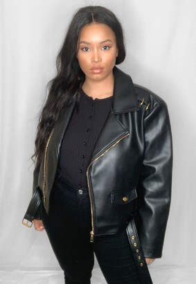 Missguided Plus Size Black Faux Leather Ring Detail Biker Jacket