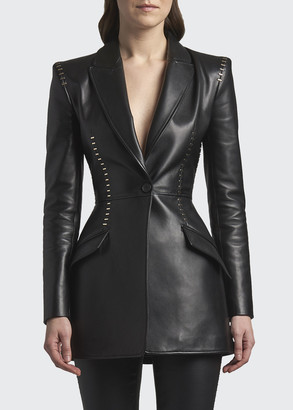 Alexander McQueen Studded Leather One-Button Jacket