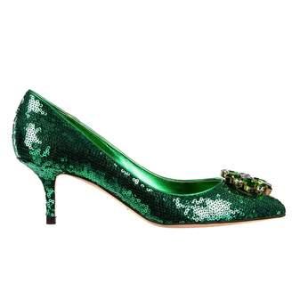 Dolce & Gabbana Green Glitter Heels