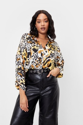 Nasty Gal Womens Wild the Night is Young Plus Satin Animal Shirt - Brown - 16, Brown