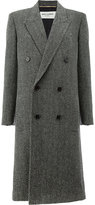 Saint Laurent tweed double breasted coat - women - Silk/Cotton/Polyamide/Virgin Wool - 36