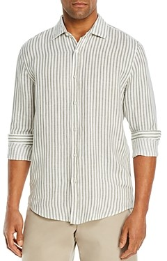 The Men's Store at Bloomingdale's Linen Stripe Classic Fit Shirt - 100% Exclusive