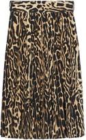 Burberry Leopard Print Stretch Silk Pleated Skirt