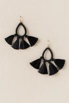 francesca's Matilda Tassel Teardrop Earrings In Black - Black