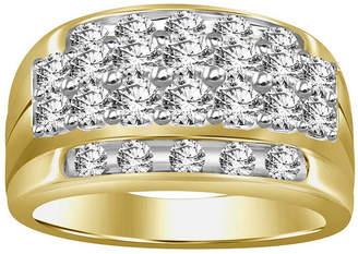 FINE JEWELRY Mens 2 CT. T.W. Genuine White Diamond 10K Gold Wedding Fashion Ring