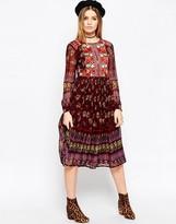 Asos PREMIUM Embroidered and Print Midi Dress