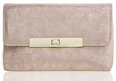 Nina Metallic Faux-Suede Turn-Lock Clutch