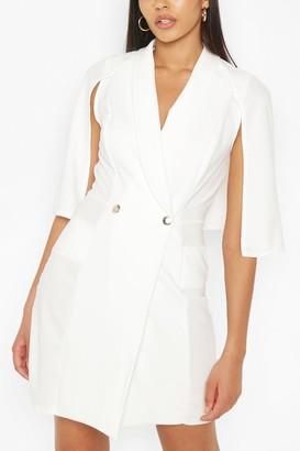 boohoo Tall Tailored Pocket Front Cape Blazer Dress