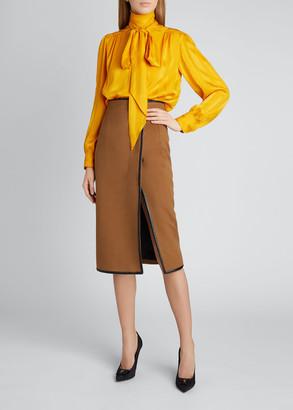 Saint Laurent Tie-Neck Long-Sleeve Silk Logo Blouse