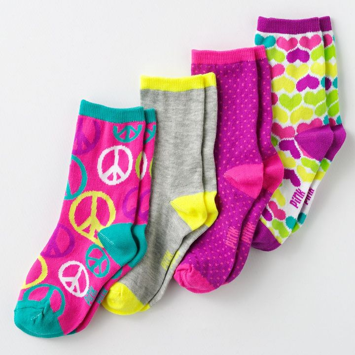Pink Cookie 4-pk. peace patterned crew socks - girls