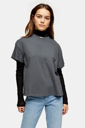 Topshop PETITE Weekend T-Shirt in Charcoal Grey