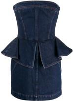 Philosophy di Lorenzo Serafini strapless peplum-style denim dress