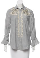 Suno Pearl-Accented Embroidered Button-Up