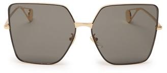 Gucci Oversized Square Metal Sunglasses - Dark Grey