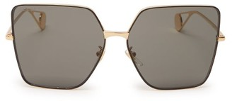 Gucci Oversized Square Metal Sunglasses - Womens - Dark Grey