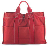 Hermes Red Canvas Silver Tone Sac Deauville Tote Handbag BY4526 MHL