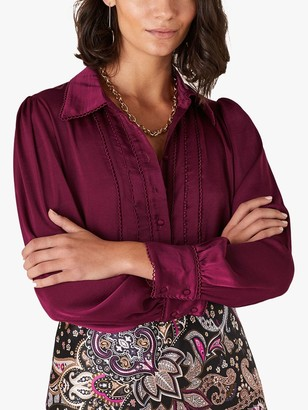 Monsoon Peggy Lace Blouse, Wine