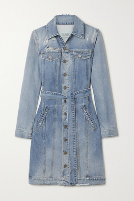 Givenchy Belted Distressed Denim Mini Dress - Blue