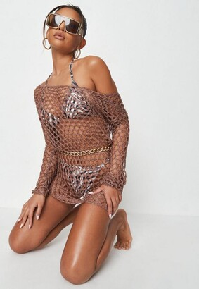 Missguided Mocha Hexagon Off Shoulder Crochet Beach Dress