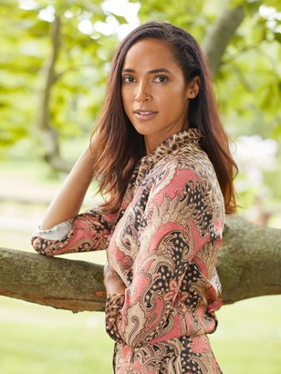 J.Mclaughlin Darcey Silk Shirt in Ashler Safari