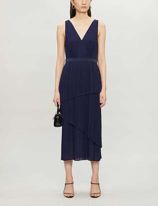 Ted Baker Pleated tiered crepe midi dress