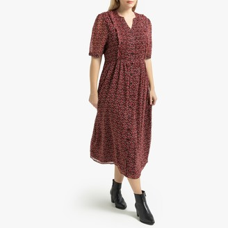 La Redoute Collections Plus Floral Print Buttoned Maxi Dress with Short Sleeves and Ruffles