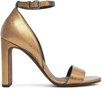 Brunello Cucinelli Bead-embellished Cracked-leather Sandals