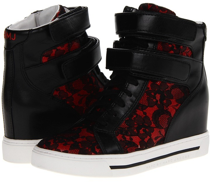 Marc by Marc Jacobs Lace Sneaker (Red/Black) - Footwear