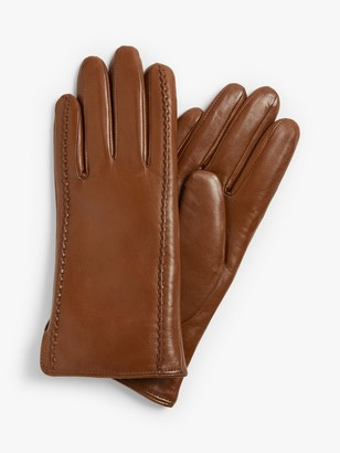 John Lewis & Partners Shearling Lined Stitch Leather Gloves