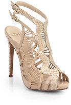 Alexandre Birman Python & Leather Cutout Sandals