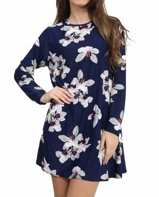 DigitalSpot Womens A Line Flared Swing Dress Long Sleeve Skater Long Top Ladies Fancy Party Wear Long Sleeve Printed Midi Dress White Lily Navy X Large UK 16-18