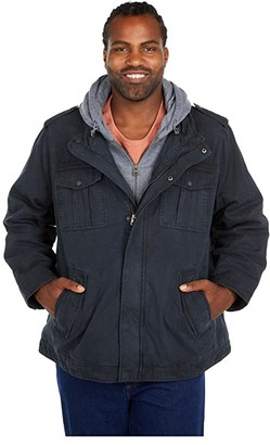 Levi's Big Tall Cotton Military Trucker Jacket with Sherpa Lining - Big (Navy) Men's Clothing