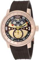 Rosegold GV2 by Gevril Men's 4043R5 Powerball Rose- PVD Big Date Brown Rubber Watch