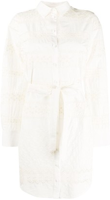 L'Autre Chose Lace-Insert Belted Shirt Dress