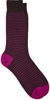 Barneys New York Men's Striped Wool-Blend Mid-Calf Socks-BROWN