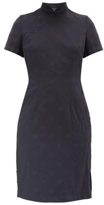 Comme des Garcons Mandarin-collar Polka Dot-jacquard Dress - Womens - Navy