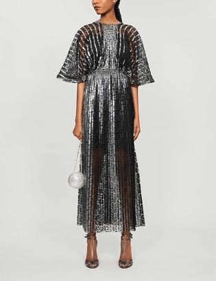Huishan Zhang Zelda pleated metallic lace midi dress