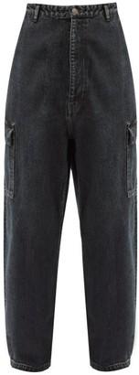Balenciaga Patch-pocket Oversized Denim Trousers - Black