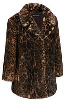 Black Rivet Womens Notch Collar Dark Leopard Faux-Fur Coat W/ 3/4 Sleeves