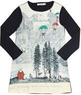 Nice Things Bear Printed Jersey & Crepe Dress