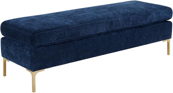 Thumbnail for your product : Tov Delilah Navy Textured Velvet Bench