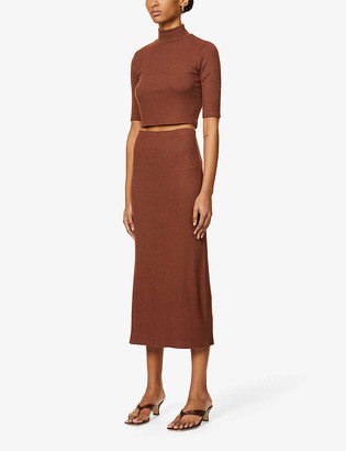 Reformation Leyla ribbed stretch-jersey two-piece set