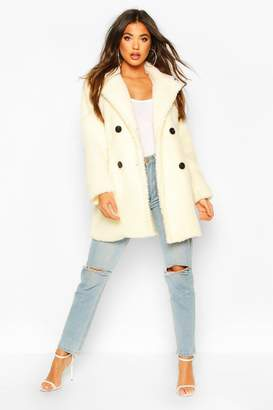 boohoo Faux Fur Double Breasted Coat