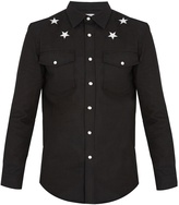 Givenchy Star-embroidered stretch-denim shirt